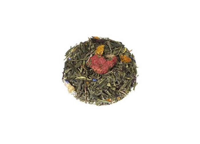 Bio Grüner Tee Bunter Garten natürlichem Aroma von reifen Erdbeeren spritzigen Lemongras und aromatischen Sanddorn-Beeren lose 773S