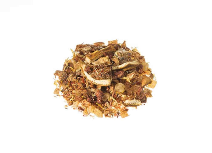 Fruechtetee Mango ist eine Frucht-Tee-Mischung mit dem exotischen Aroma der Mango lose 11086